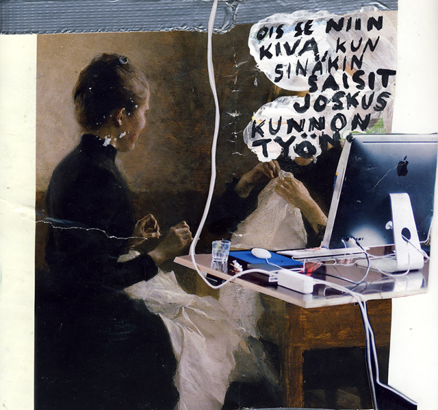 Niina Lehtonen Braun: It Would Be Nice If You Had a Proper Job One Day (A single collage from installation Mother Said), 2011