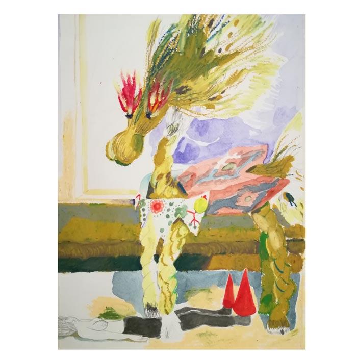 Hanna Hyy: Emotional Labor for Spring, 2019, A4, vesiväri ja öljypastelli paperille