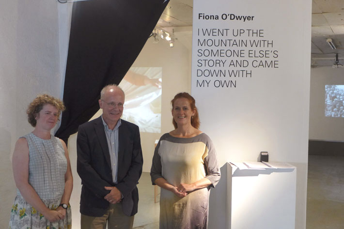 Fiona, Colm and Maria in front of Fiona's exhibition