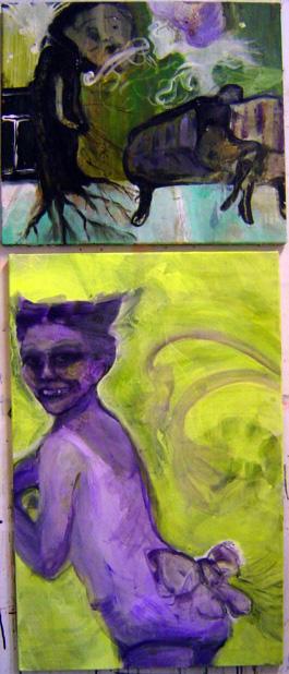 Akryyli kankaalle, 48x55 ja 81x52, 2004