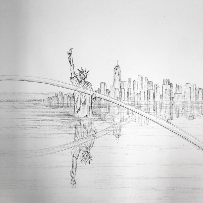 Eeva Honkanen: Yksityiskohta teoksesta The Owl's Head, ink drawing, 240cm x 390cm, 2020