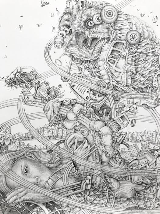 Eeva Honkanen: Collapse, ink drawing, 120cm x 85cm, 2020