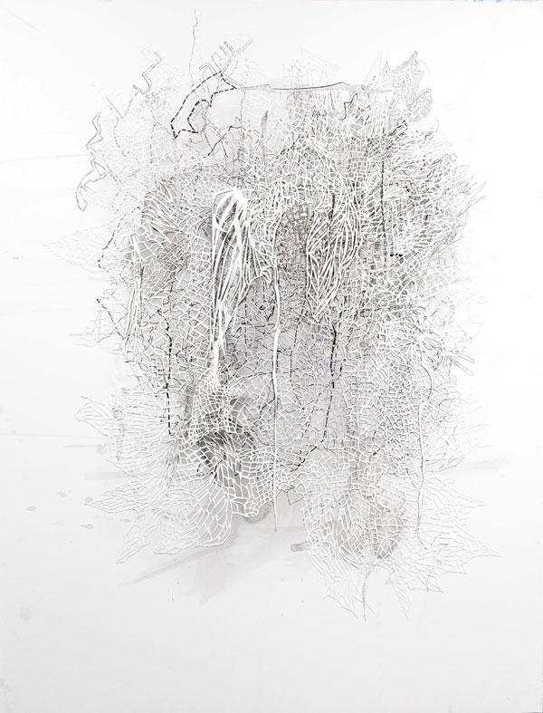 Forbidden Forest, 173 x 133 cm, 2016, tussi, paperileikkaus, pohjustettu Dipond-levylle
