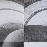 Henni Kitti: Grafeeni / Saturnus; lyijykynä ja teippi paperille; 60 x 21 cm; 2018