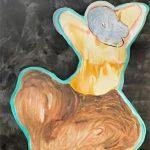 Aura Hakuri: Odaliski, 138 x 115 cm, vesivari, sumiväri ja tussi paperille, 2019
