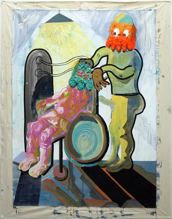 Satakieli on tapettava / 233 x 184 / akryyli, tussi ja kollaasi kankaalle / 2017