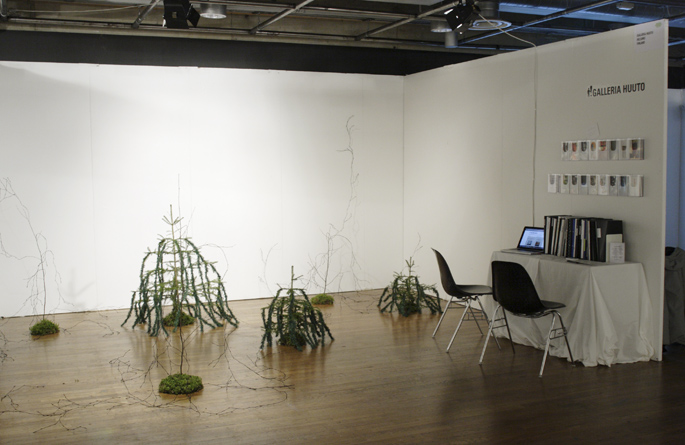 Charlotta Östlund: Mixed Forest  Birch and fir plants, man-made branches, moss etcetera