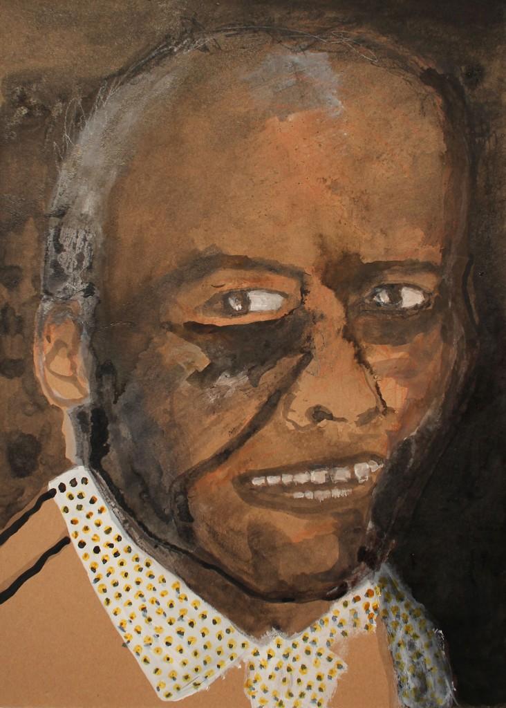 JOE, muste, akryyli ja värikynät pahville (ink, acrylic and color pencils on cardboard), 42 x 30cm, 2016