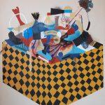 JP Köykkä: Out of the Box, akryyli, sahanpuru, öljy, spray, bitumi ja kollaasi kankaalle, 160 x 140 cm, 2018