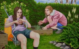 Joel Slotte: Pitkä päivä puutarhassa / A long day in the garden / En lång dag i trädgården, Öljy kankaalle / Oil on canvas / Olja på duk 160 x 160 cm, 2018