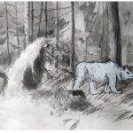 Jussi Pyky: Karhu, 2019, hiili, lyijykynä ja öljypastelli paperille