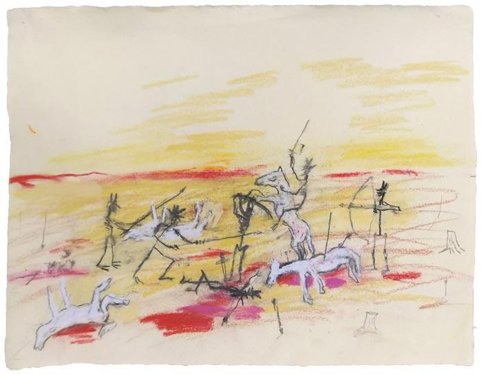 Jussi Pyky: War, lyijykynä ja kuivapastelli paperille, 24,5 x 31,5 cm, 2019