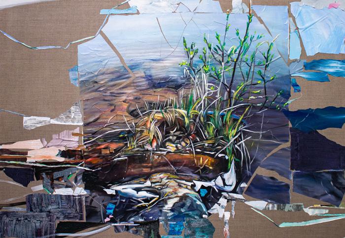 Kaisa Huotari: Decomposing Self-Indulgence, 2020, Öljyväri ja akryylikollaasi pellavalle, 120x165cm