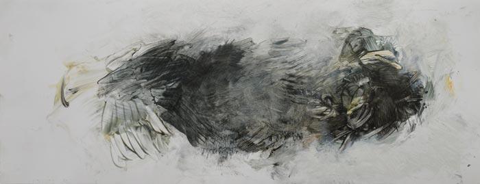 Katariina Salmijärvi, Entiteetti, 2017/2018, öljy valokuvapaperille, 18 cm x 45 cm