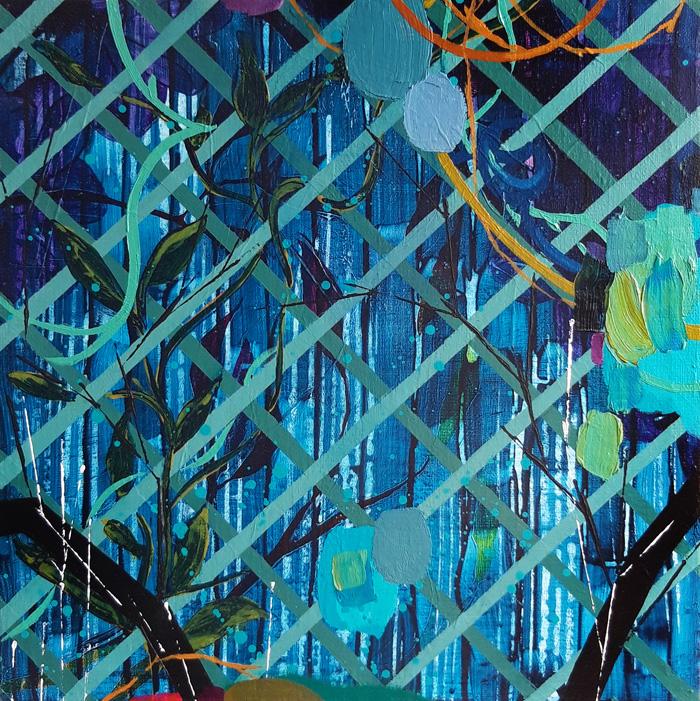 Milla Kuisma: Kiipeilijat 1, 2020, öljy ja akryyli kankaalle, 40  x 40 cm