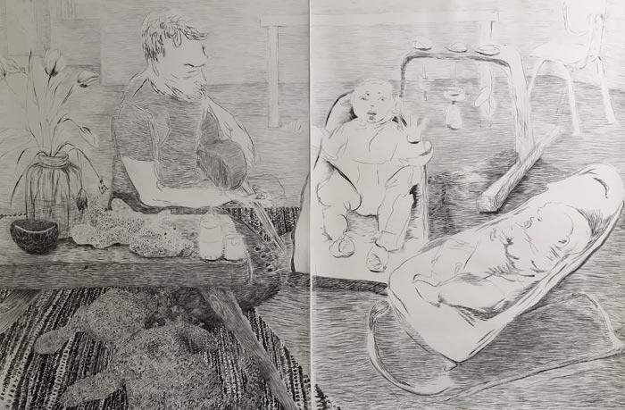 Laura Ukkonen, Kehtolaulu / Lullaby, 2018, hiili paperille, 200x300 cm