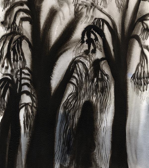 Metsänpeitto, 2015, muste ja vesiväri paperille