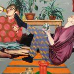 Maaria Jokimies: Sokeripala puoliks, 2019, akryyli, öljy ja öljypastelli kankaalle, 140 x 180 cm