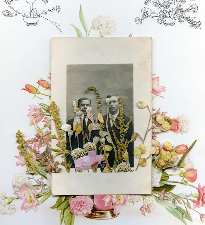 Marja Viitahuhta, Teriö ja verhiö, sarjasta Flowers to flowers, 2018, kollaasi, 33 x 31 cm