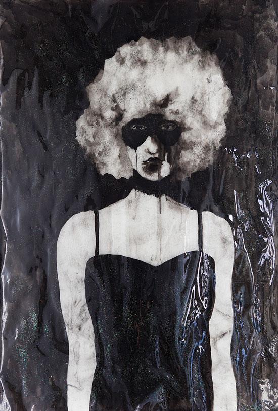Masque, sekatekniikka paperille, 104x72cm
