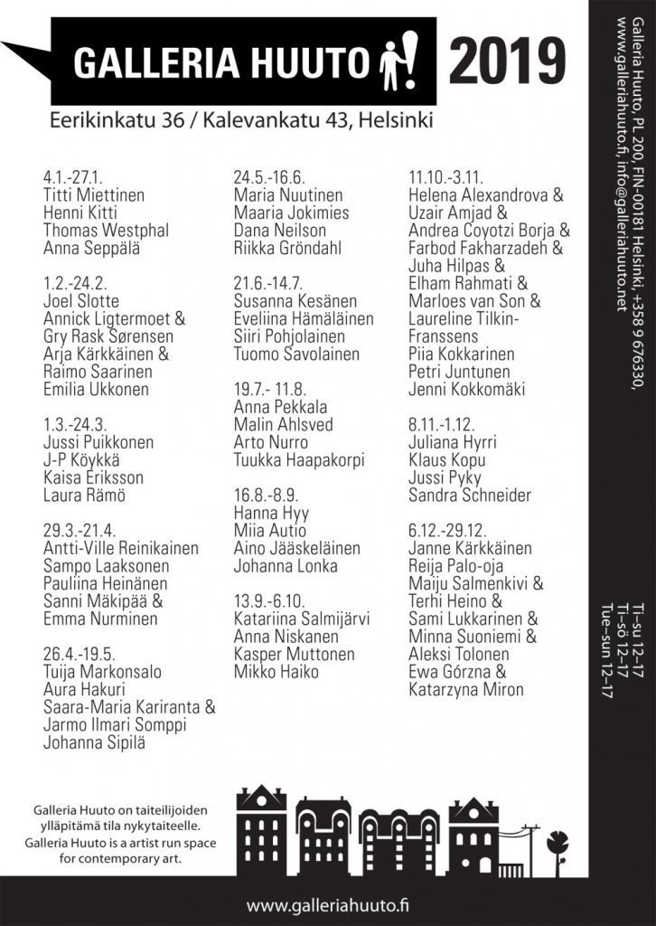 Galleria Huuto's exhibition calendar 2019