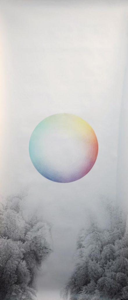Henni Kitti: Nimetön; lyijykynä ja värikynä paperille; 87 x 202 cm; 2013 – 2018