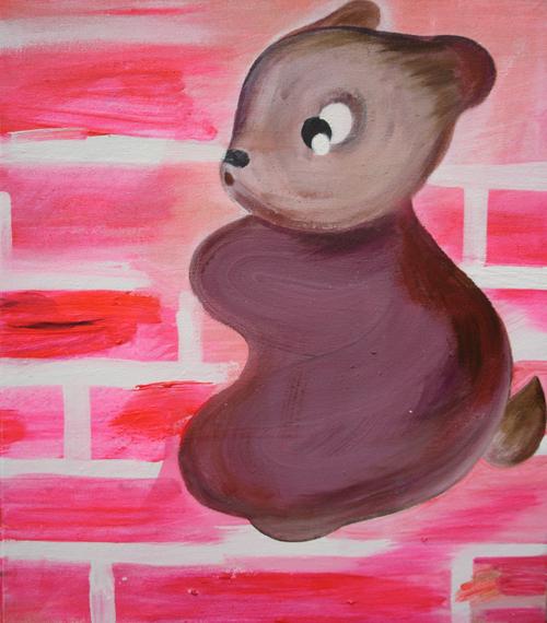 Eeva-Leena Eklund: Orava, 2004, sekatekniikka kankaalle