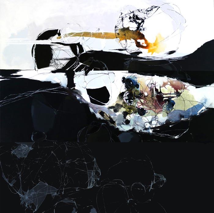 Päivi Allonen, Heijastumia 2, 2017, akryyli kankaalle, 180 x 180 cm
