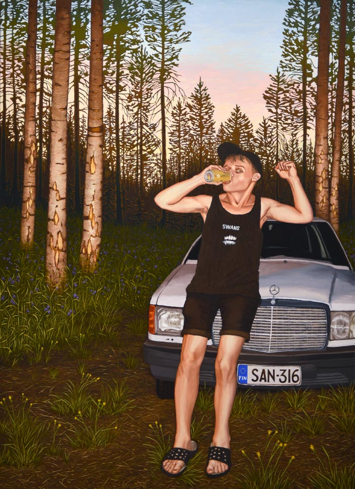 Joel Slotte: Hyvä lämpö / The good warmth / Den goda värmen, Öljy kankaalle / Oil on canvas / Olja på duk 160 x 116 cm, 2018
