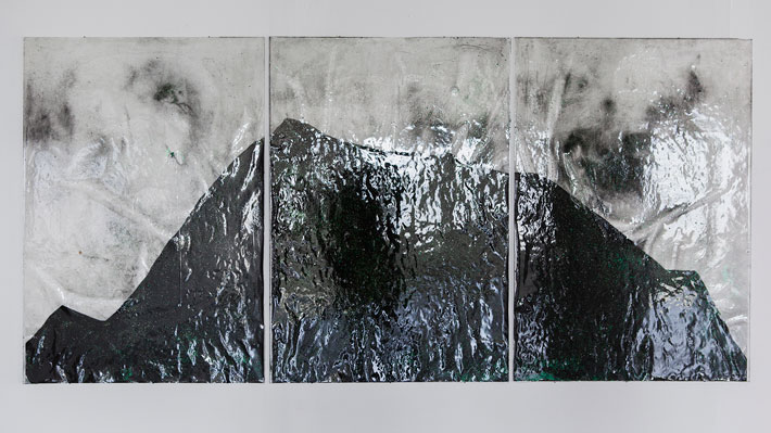 Strata, sekatekniikka akryylilevylle, 104x216cm