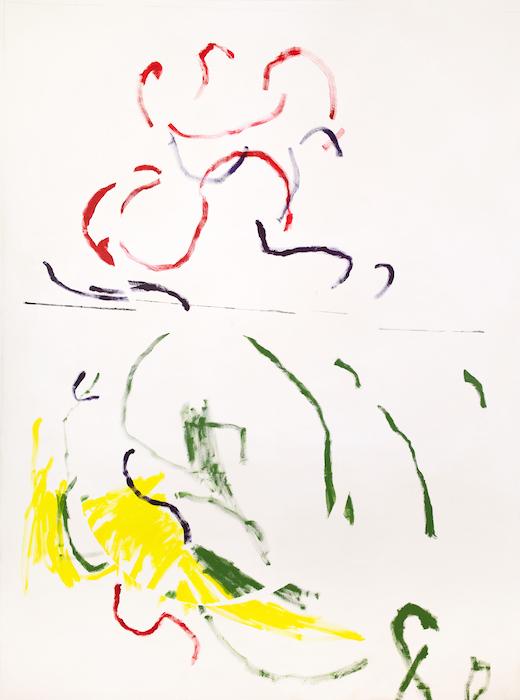 Juha Vanonen, Studying letter S with Saima, 220 x 165 cm, akryyli ja spray kankaalle, 2020