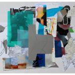 """Tero Kontinen: """"Suotuisat olosuhteet"""", 83 x 63 cm, akryyliväri, akryylimuste ja akryylimarker paperilla, akryylispray, piirustuskalvo, värikalvot, 2018"""