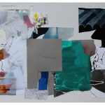 """Tero Kontinen: """"Suotuisat olosuhteet 2"""", 83 x 63 cm, akryyliväri, akryylimuste ja akryylimarker paperilla, akryylispray, piirustuskalvo, värikalvot, 2018"""