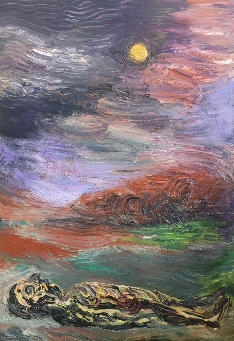 Ville Välikangas: Under the stars, 103 x 71 cm, öljyväri kankaalle, 2020