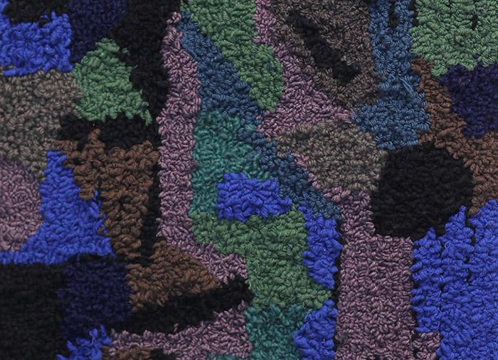Yksityiskohta teoksesta Uuvana, 28x38cm, tuftaus, 2020