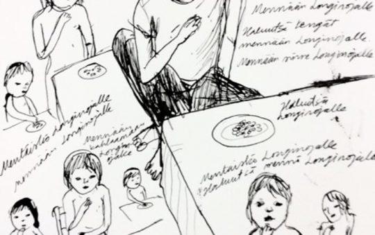 Anna Seppälä: Mennään Longinojalle, tussipiirros paperille, 2018