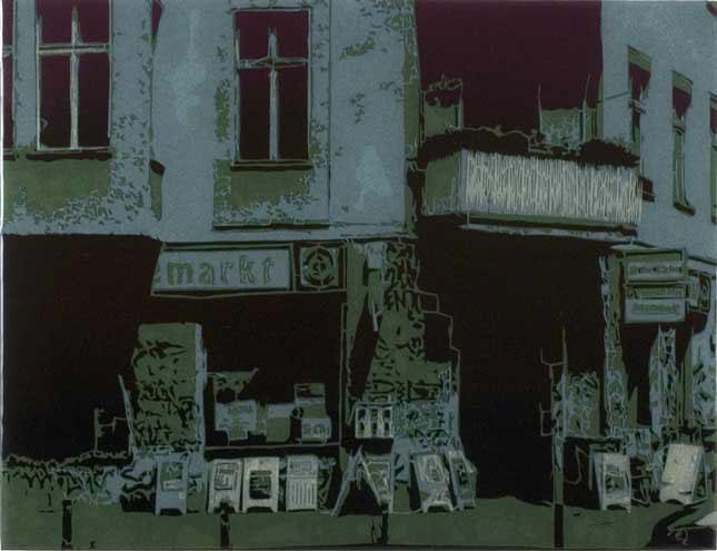 A Rhymin' Klepto, 2006, spraymaali, paperileikkaus ja epoksilakka mdf-levylle, 39 x 51 cm