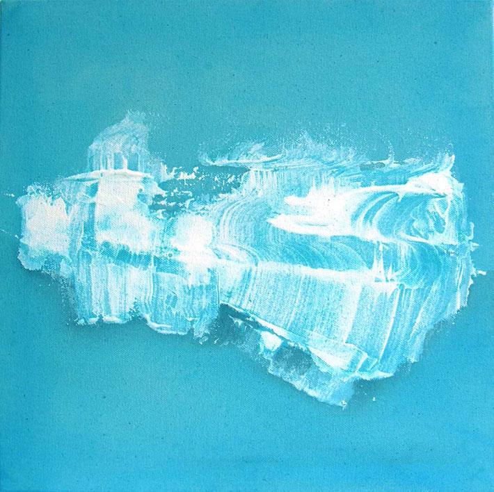 Bright Lit Blue Sky, akryyliväri kankaalle, 29x29 cm