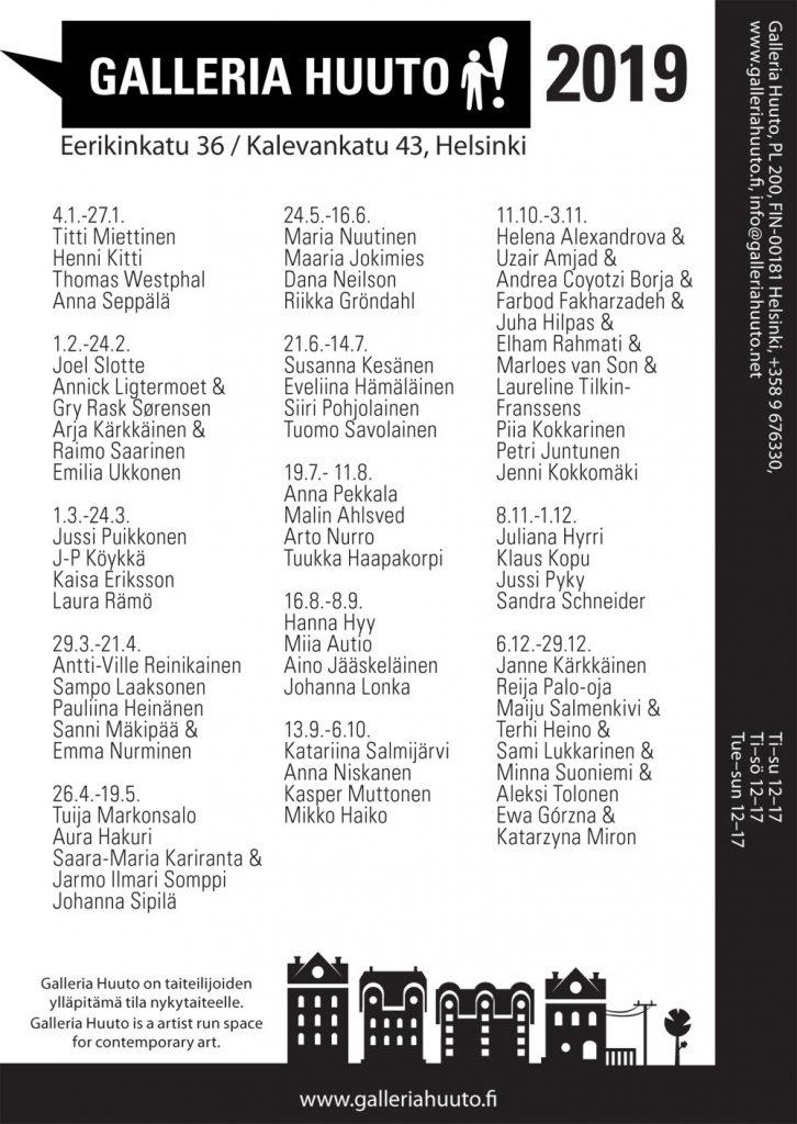 Galleria Huuto - näyttelykalenteri 2019