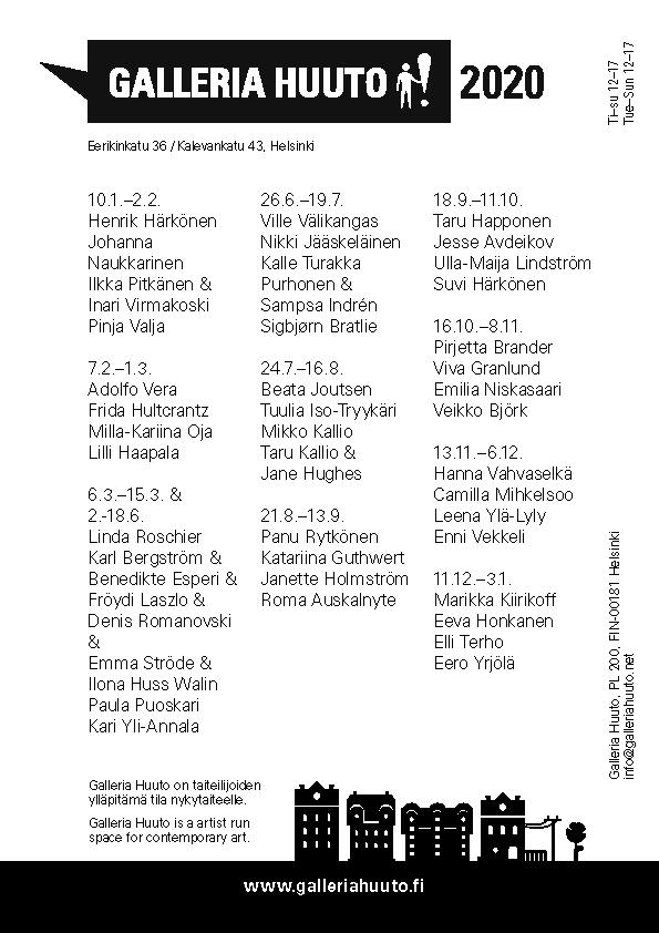 Galleria Huuto, näyttelykalenteri 2020