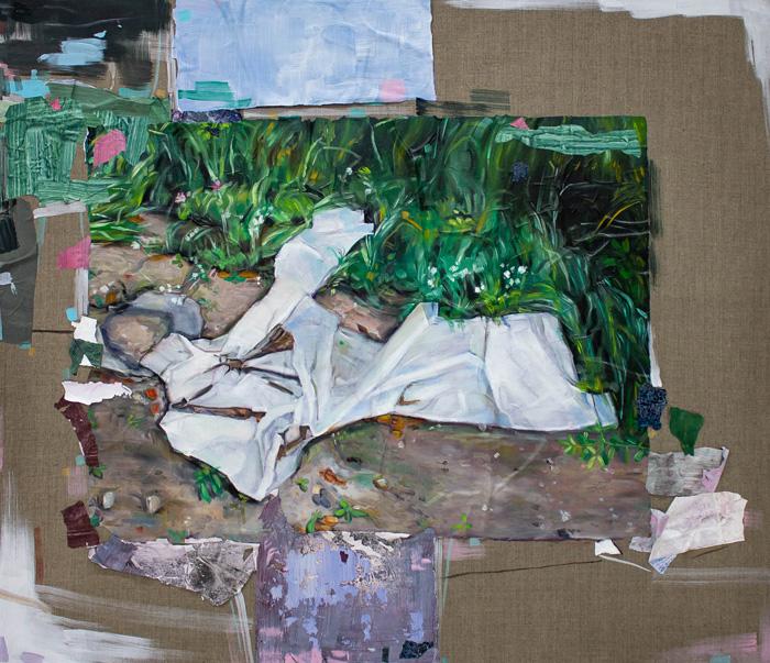Kaisa Huotari: Intersection, 2021, Öljyväri ja akryylikollaasi pellavalle, 112 x 96 cm