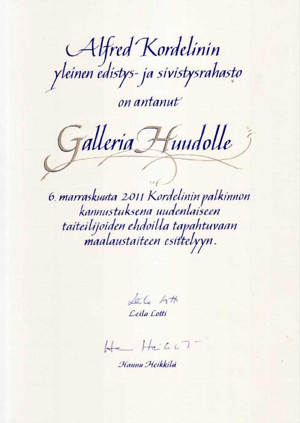 A.Kordelinin säätiön Kannustuspalkinto 2011