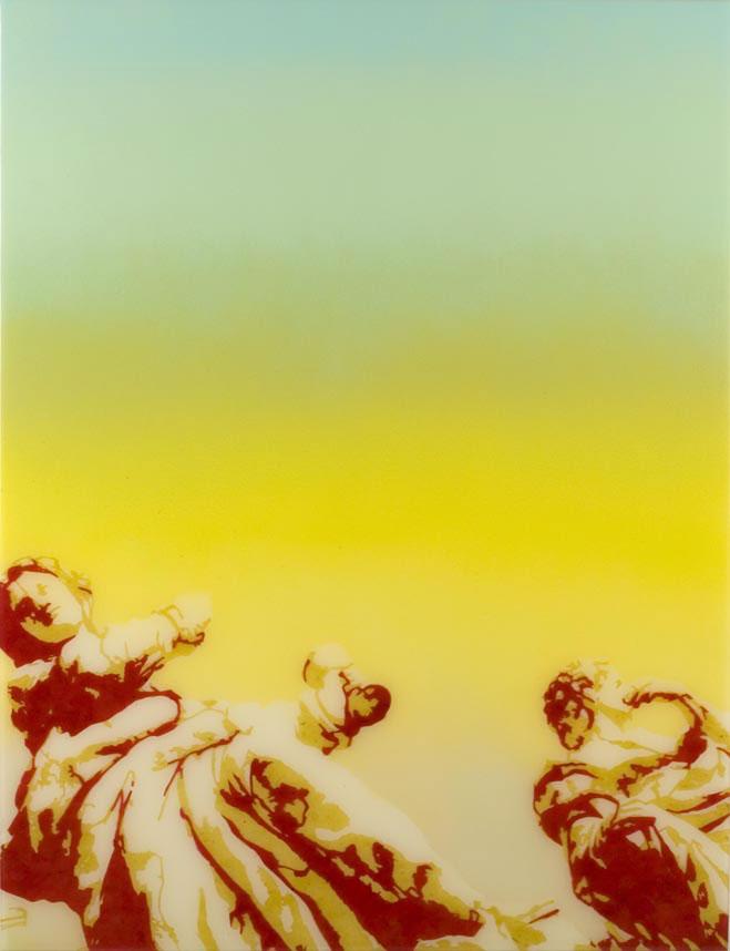 Näin kaksi enkeliä tai jotain, 2006, spraymaali, paperileikkaus ja epoksilakka mdf-levylle, 79 x 61 cm