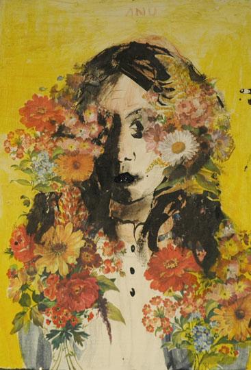 Niina Lehtonen-Braun: Anu, 2008, tempera, muste ja kollaasi levylle