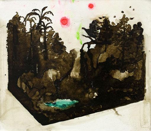 Koti kolossa, tussi, öljy ja akryyli levylle kiinnitetylle paperille, 31cm x 35cm, 2014
