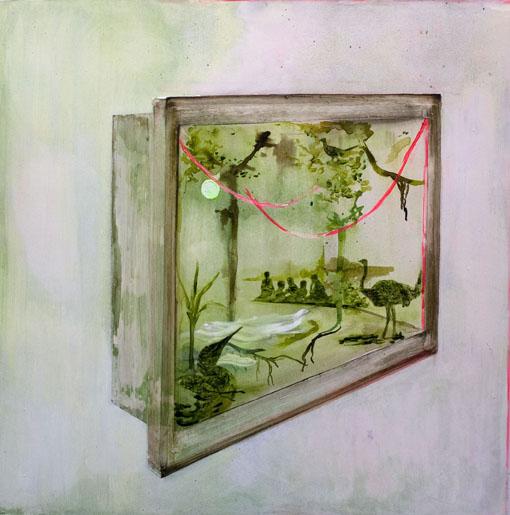 Retki, tussi, öljy ja akryyli levylle kiinnitetylle paperille, 105 cm x 105 cm, 2014-2015