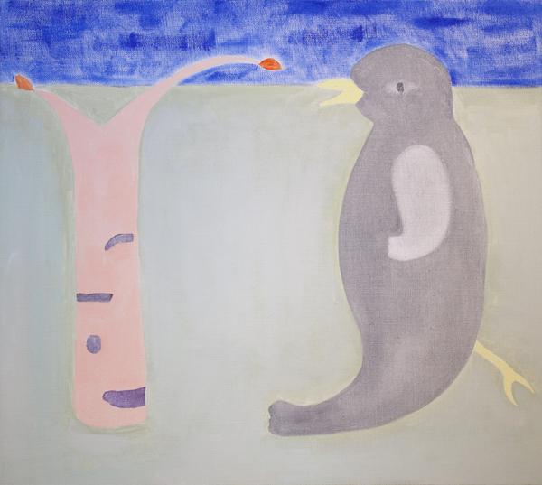 Kevätfantasia (Mustarastas ja kevätkoivu), 54cm x 60cm, öljy kankaalle, 2014