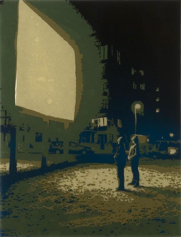 Valon säteiden tie, 2006, spraymaali, paperileikkaus ja epoksilakka mdf-levylle, 51 x 39 cm